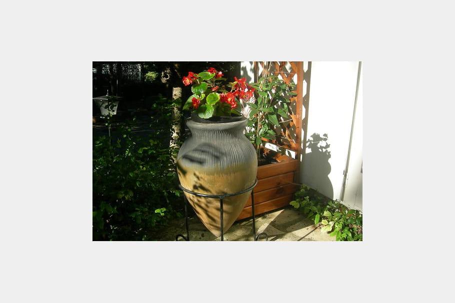 Une amphore devenue pot for Amphore de jardin