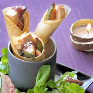cornets au foie gras et confiture de figues