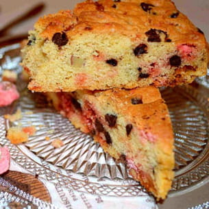 cookie géant aux 2 chocolats et pralines roses
