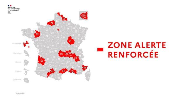 Carte des zones d'alerte renforcée (couleur rouge) au 6 octobre 2020