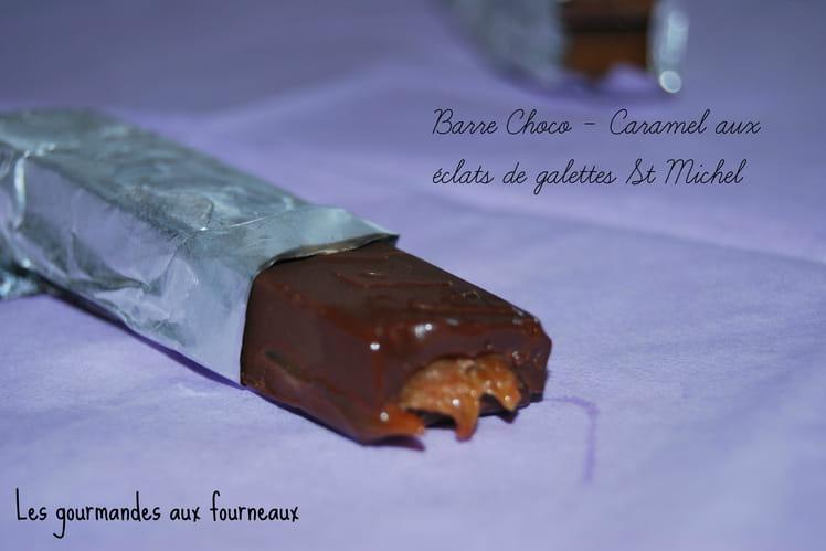 Barres chocolat, caramel aux éclats de biscuits