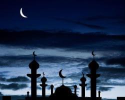 mosquée et croissant de lune.