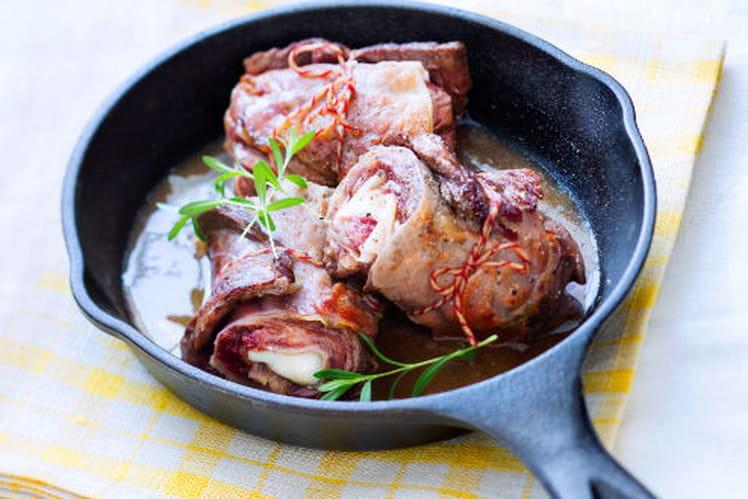 Saltimboccas d'onglet de bœuf au speck  et sauce à l'échalote