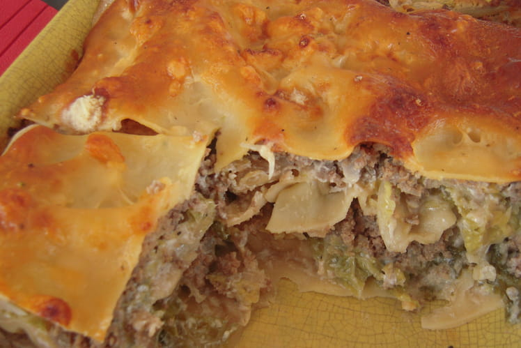 Lasagnes au boeuf et au chou vert frisé