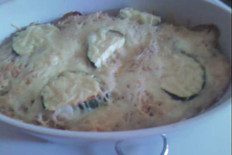Gratin de courgettes, tomate et fromage de chèvre