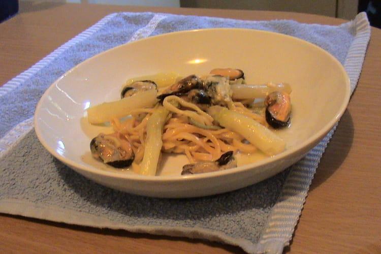 Moules au gingembre et aux asperges