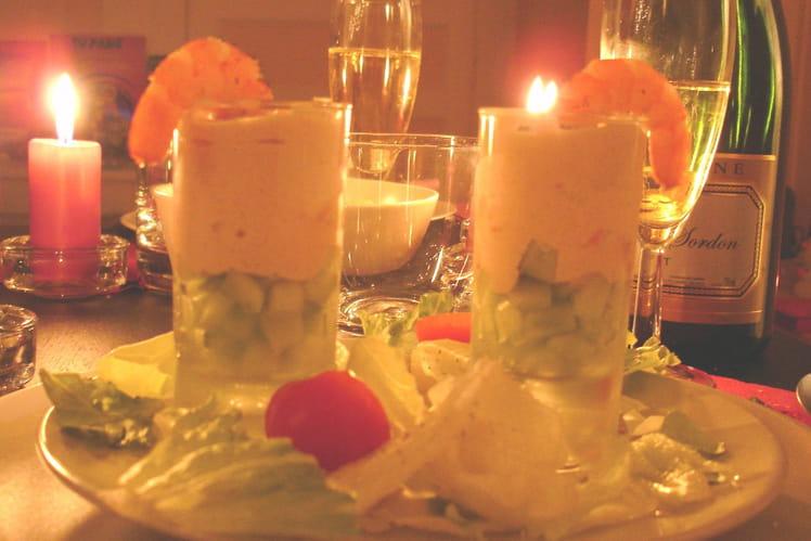 Verrines salées crevettes-concombre