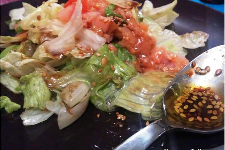 Salade au saumon fumé et aux avocats