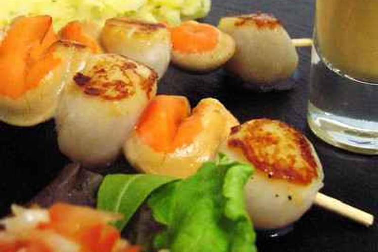 Brochettes de Saint-Jacques et crevettes