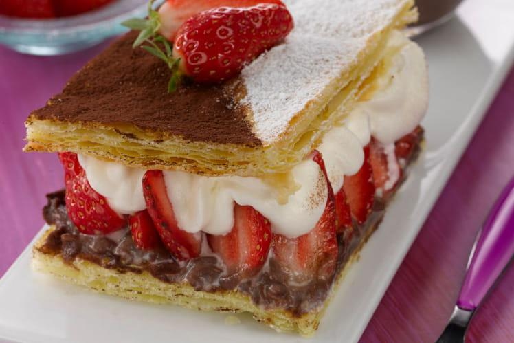 Mille-feuille choco-fraises