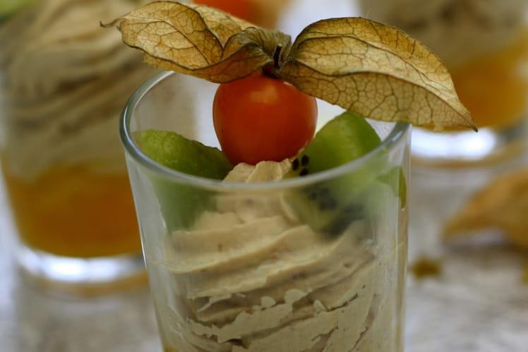 Verrines festives au foie gras et fruits exotiques