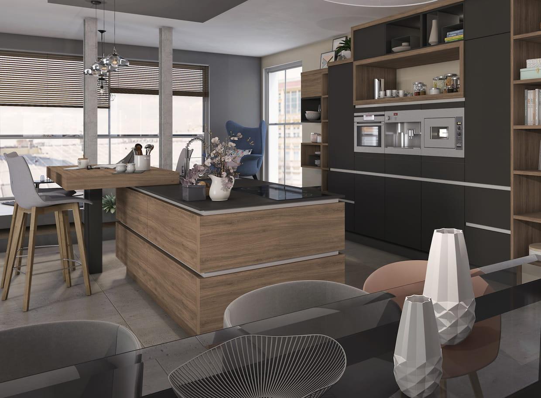 L 39 lot de cuisine avec bar for Deco cuisine urbaine