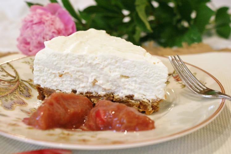 Cheesecake sans cuisson et compotée de rhubarbe