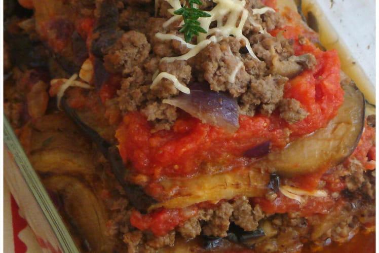 Lasagne d'aubergine et boeuf