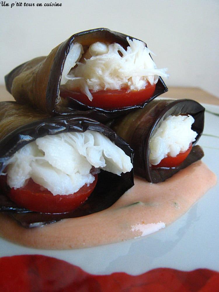 recette de roul s aux aubergines tomates et crabes sauce cocktail la recette facile. Black Bedroom Furniture Sets. Home Design Ideas