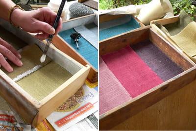 collage des bouts de tissu