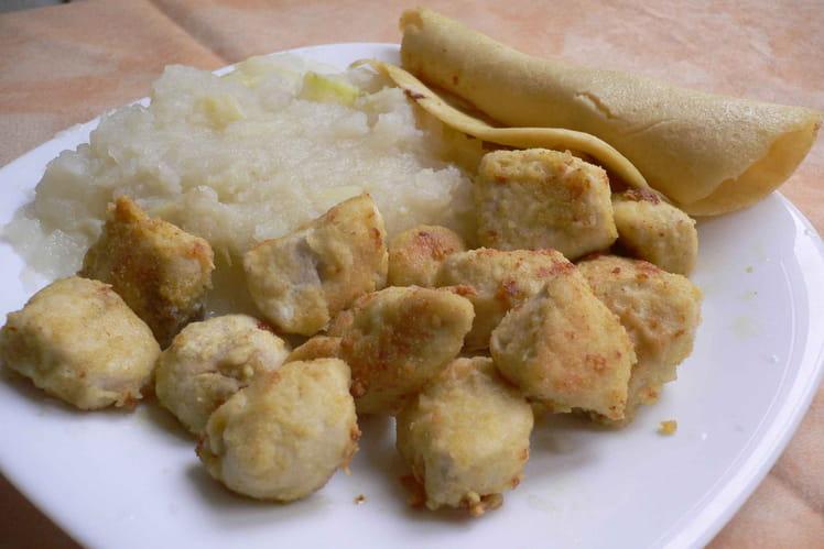 Nuggets de poulet quinoa-soja et leur purée de navets