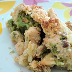 crumble de saumon aux brocolis et mascarpone