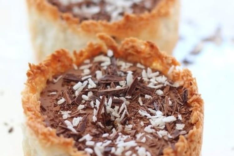 Bavarois chocolat en coque de coco