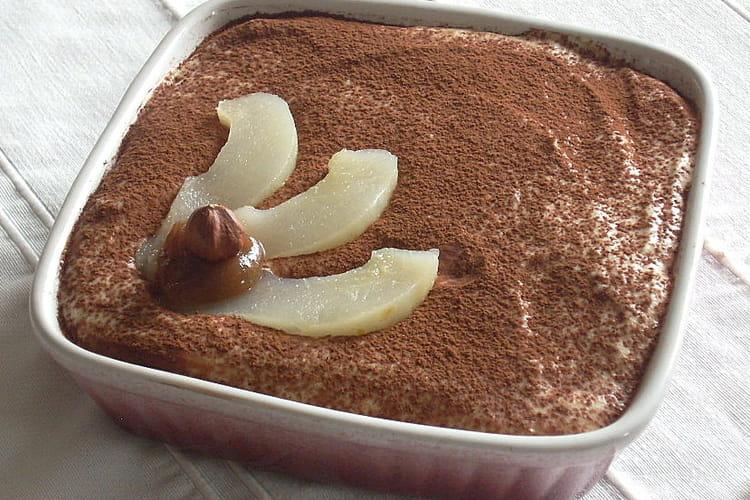 Tiramisu aux poires et à la crème de marrons