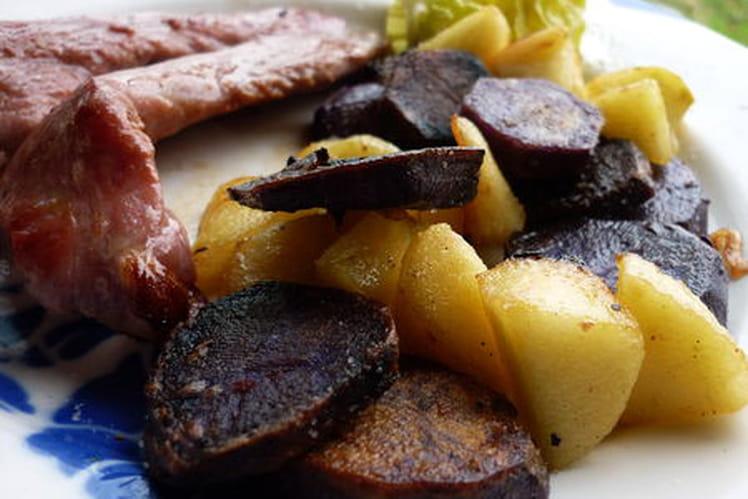 Poêlée colorée de pommes et pommes de terre vitelottes