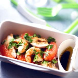 salade poulet et crevettes au pamplemousse