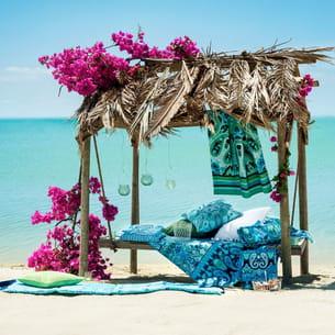 drap de plage turquoise h&m home