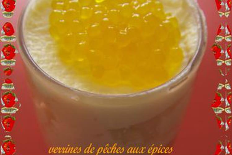 Verrines de pêches épicées et faux caviar curcuma