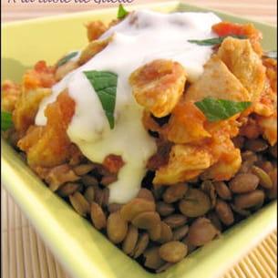 curry de poulet aux lentilles blondes