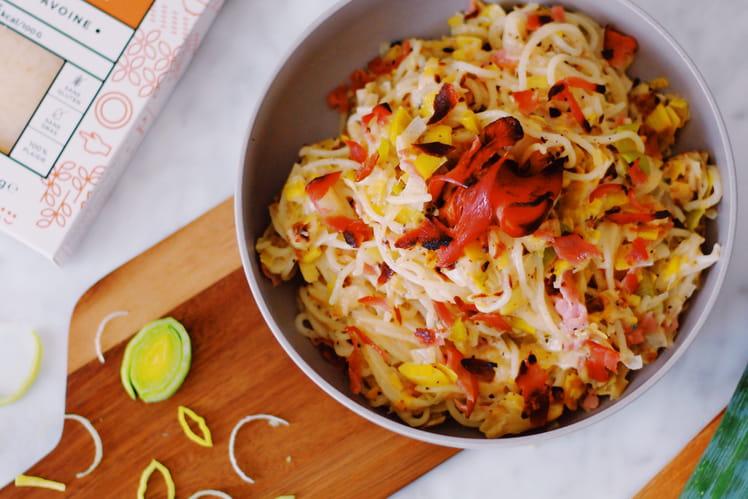 Spaghetti crème de poireaux et crispy bacon