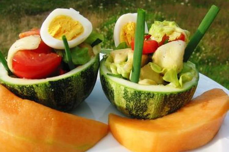 Courgettes rondes farcies façon salade