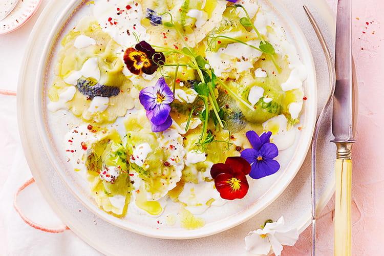 Raviolis fleuris au fromage