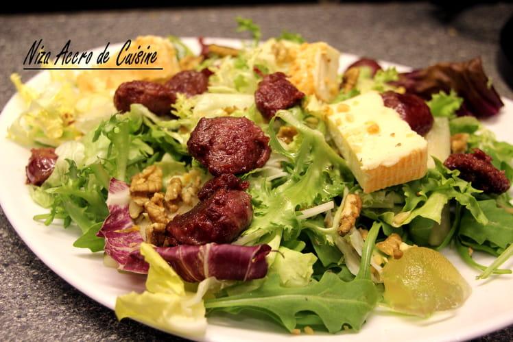Salade aux gésiers confits, Herve et noix