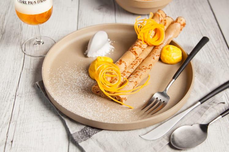 Crêpes au Calvados, mousse de courge et patate douce, galce au miel