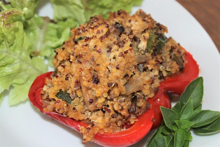 Poivron farcis aux légumes, au chèvre et quinoa