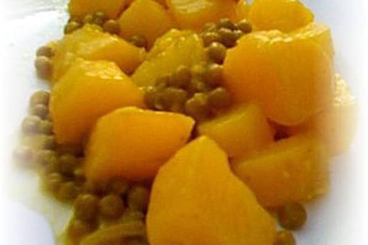 Curry de pommes de terre et petits pois
