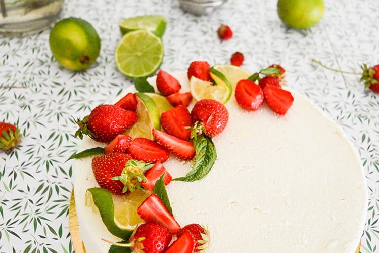 Le Mojito-Fraise, entremet citron vert, menthe et fraises