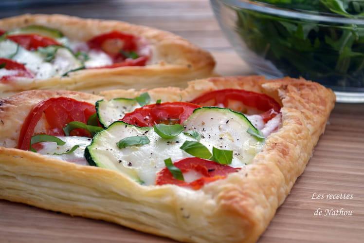 Feuilletés aux courgettes, tomates et mozzarella