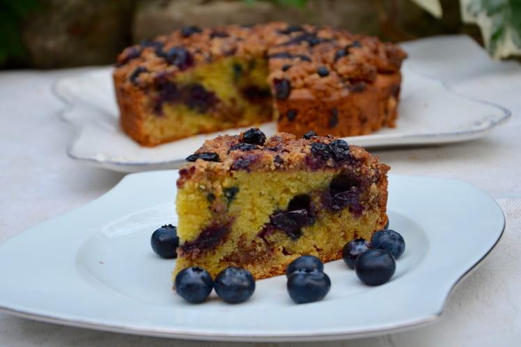 Crumb-cake aux myrtilles et amandes