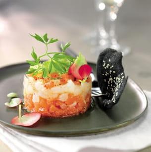 tartare de saint-pierre au pomelo et à la verveine, tuile noire au sésame
