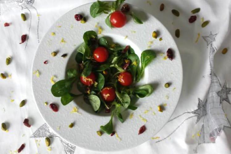 Salade de mâche aux cranberries et pistache
