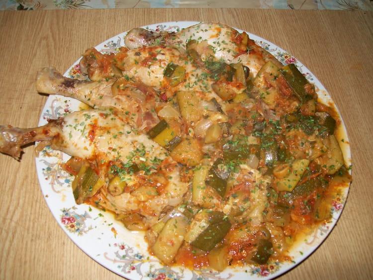 recette de cuisses de poulet et courgettes à la sauce tomates : la