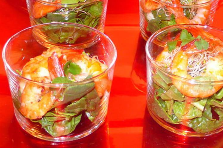 Verrines crevettes et pousses