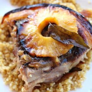 rouelle de porc caramélisé à l'ananas