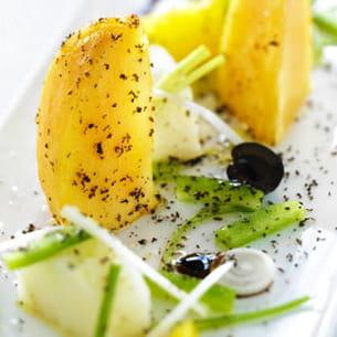 salade de kaki persimon à la morue