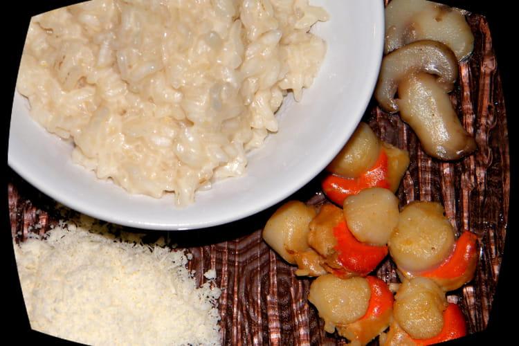 Risotto très crémeux, champignons et Saint-Jacques