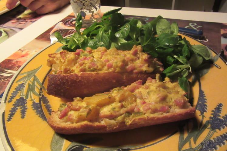 Tartine lardons/légumes au curry