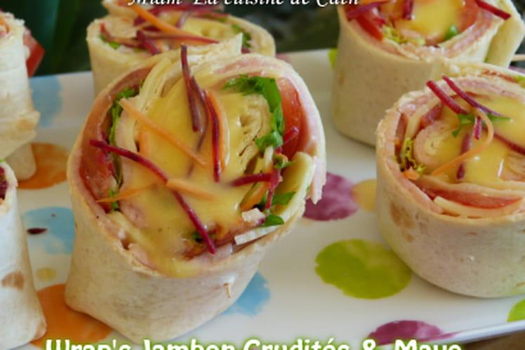 Wrap jambon crudités et mayonnaise