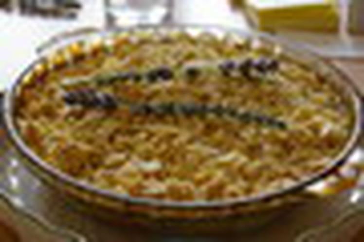 Gratin d'abricots aux amandes et fleurs de lavande