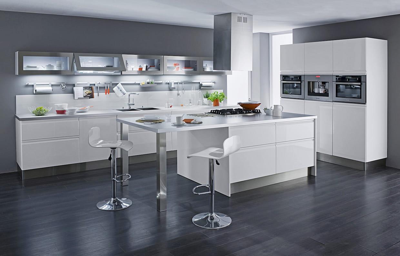 l 39 lot de cuisine blanc et inox. Black Bedroom Furniture Sets. Home Design Ideas